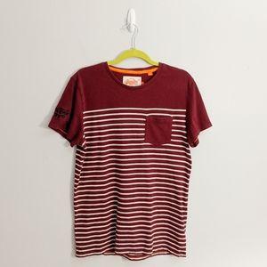 Superdry Vintage Orange Label Striped Tee Shirt